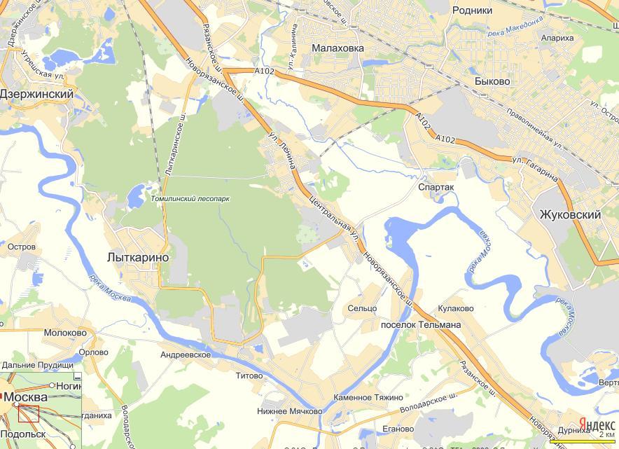 Карта местности вокруг Лыткарино