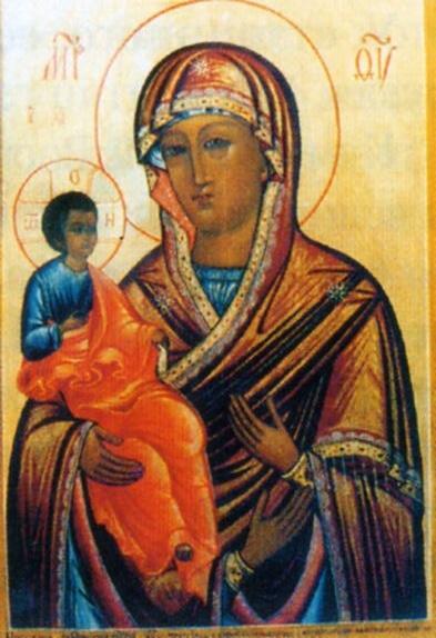 """Икона Божией Матери """"Троеручица"""" в церкви"""