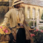 Девушка с цветами на велосипеде