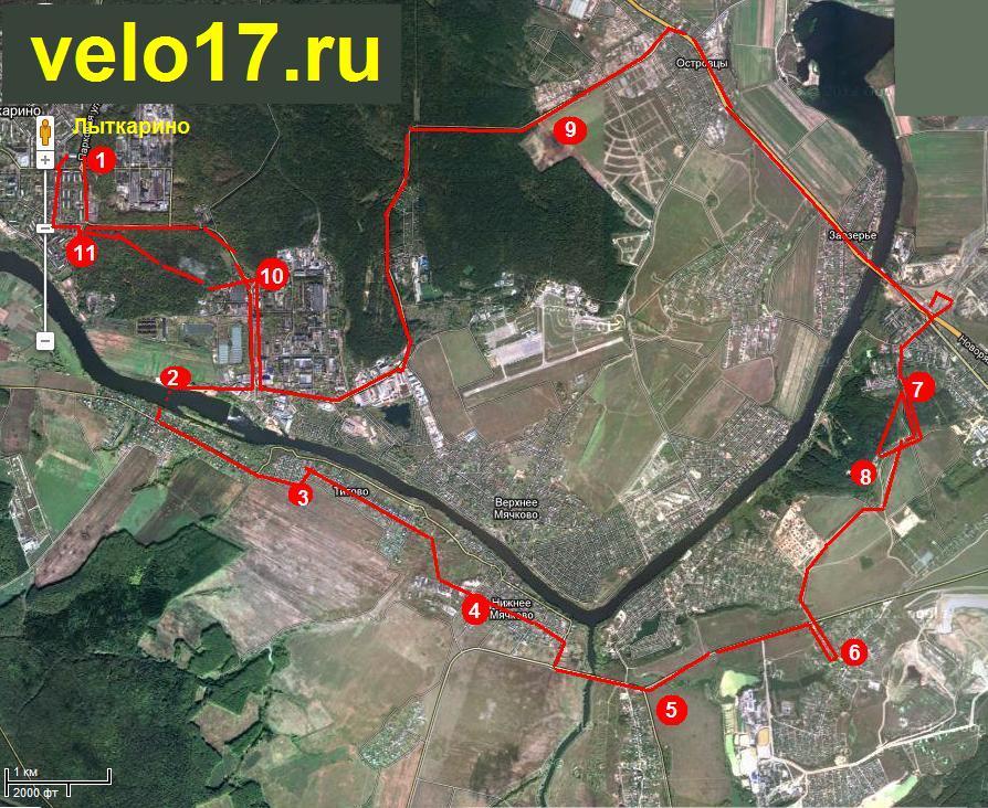 Карта - маршрут велопробега