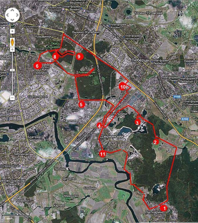 Карта маршрута Лыткарино-Белая Дача-Кузминки