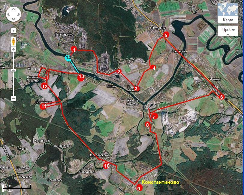 Маршрут  велопрогулки через п. Володарского