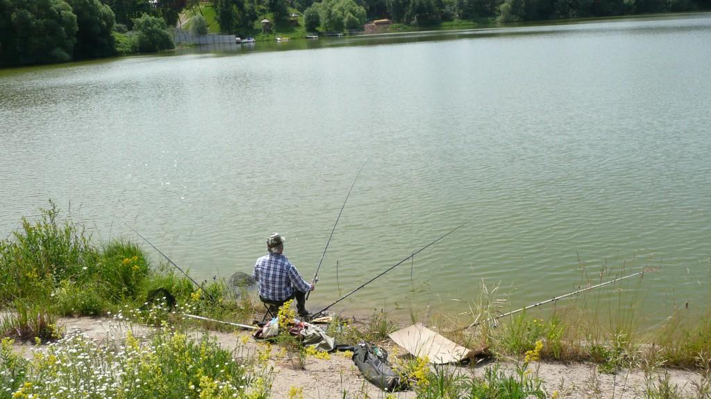 Пруд в Дальних Прудищах. Рыбак