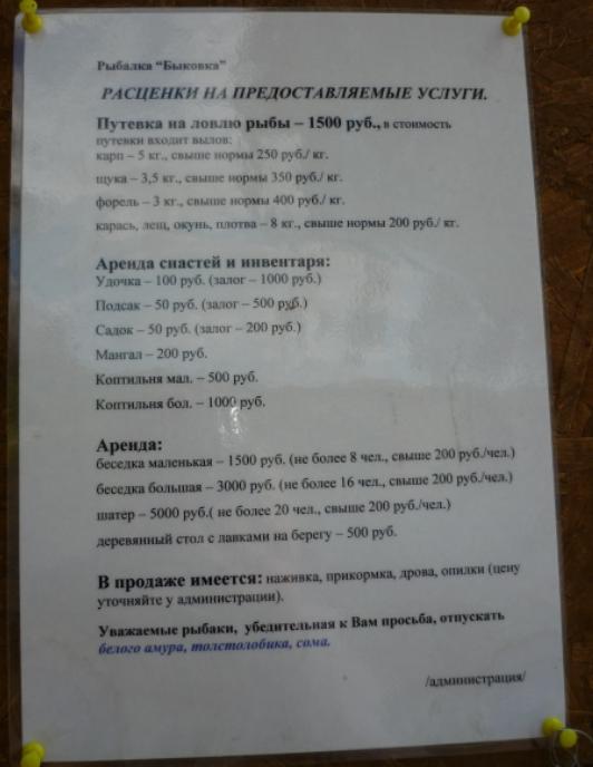 Быковка - Расценки